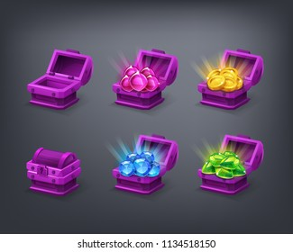 Set of cartoon colorful treasure chest empty, closed and full with green, blue, pink gems and golden coins. Vector illustration.