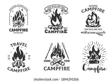 Set of cartoon composition with campfire in flat minimalistic style isolated on white background. Concept vintage design for branding print, logo, badge, . Vector hand drawn illustration.