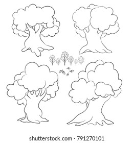 Set of cartoon contour trees, isolated on white background. Oak. Acorn.Leaves. Vector illustration. Good for coloring books.