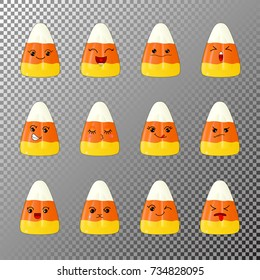 A set of cartoon corn chocolates, emoji, singing, in love, dissatisfied, wicked, winking, and others. Design elements for Halloween, Thanksgiving, stickers, patches packaging of sweets and poster