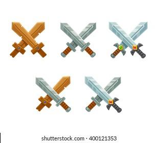 Set of cartoon crossed swords emblems. Modern vector illustration for game or web.