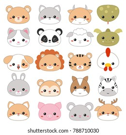 Set of cartoon cute animal faces on white background.