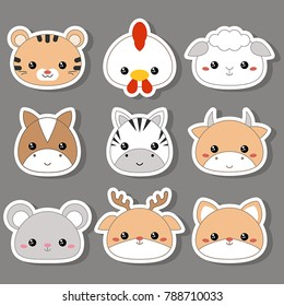 Set of cartoon cute animal faces. Vector illustration.