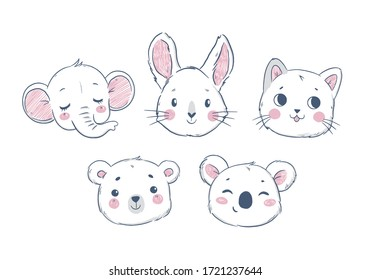 Set of cartoon cute animals for baby cards and invitations, isolated on white background. Vector illustration elephant, bunny, kitten, bear, koala.
