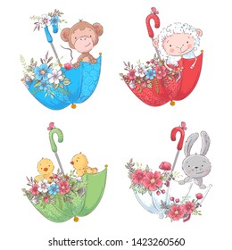 Set cartoon cute animals monkey, sheep chickens and bunny in umbels with flowers for children's illustration. Vector