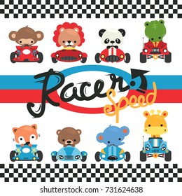 Set of cartoon cute animals racing on car isolated on white background illustration vector,