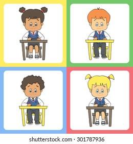 Set Of Cartoon Cute Boys And Girls In School Uniform At Preschool Kindergarten