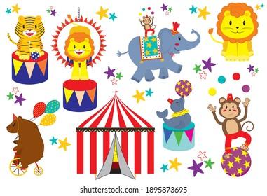Set of cartoon cute circus animals
