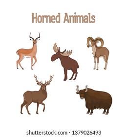 Set of cartoon cute horned animals. Impala, urial, deer, yak, elk