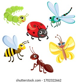 set of cartoon cute insects. vector illustration