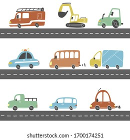 Set of cartoon cute kids and toy style cars and other transport, truck, police car, fire truck, excavator, bus. Isolated vector illustration.