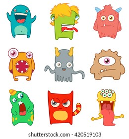 set of cartoon cute monsters. vector illustration