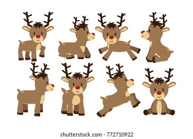 Set cartoon cute reindeer isolated