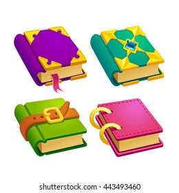 Set of cartoon different color books vector gui assets collection for game design. Isolated vector elements.Gui elements, Magic vector games assets.menu for mobile games