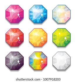 Set of cartoon different color crystals, gemstones,diamonds vector gui assets collection for game design.