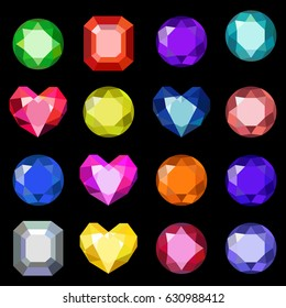 Set of cartoon different color crystals, gemstones ,gems, diamonds vector. Vector image on black background.