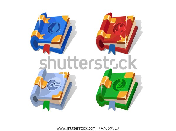 Set Cartoon Different Magic Books Spell Stock Vector
