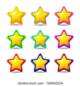 Set of Cartoon different Stars. Vector illustration. Cartoon glossy Star isolated on a white background. Game icon.Vector design for app user interface and score display.Set of wooden and golden stars