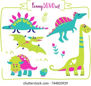 Set of cartoon dinosaur character