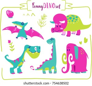 Set of cartoon dinosaur characters