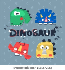 Set of cartoon dinosaurs head, T-rex, Diplodocus, Triceratops, Pterodactyl vector illustration. for t-shirt print.