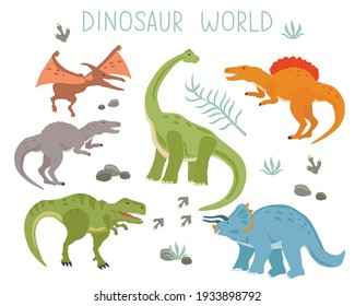 Set with cartoon dinosaurs isolated on a white background. Vector illustration for printing on packaging paper, fabric, postcard, clothing. Cute children's background