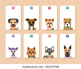 Set of cartoon dog cards