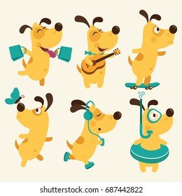 Set of cartoon dog illustration isolated on white background.Puppy Everyday Activities Set