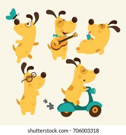 Set of cartoon dog illustration isolated on white background. Puppy Everyday Activities Set