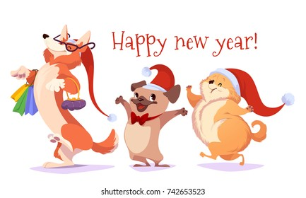 Set of cartoon dogs characters with Christmas hats. Symbol of the 2018 year. Vector illustration on a white background.