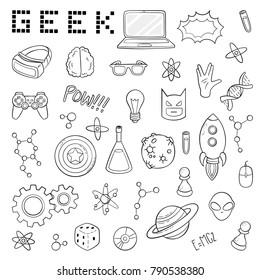 Set of cartoon doodle icons. Collection of symbols geek nerd gamer. Vector illustration, pattern, background, template for web design, print