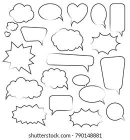 Set of cartoon doodle speech bubbles. Template for advertising, comics, web design, printing