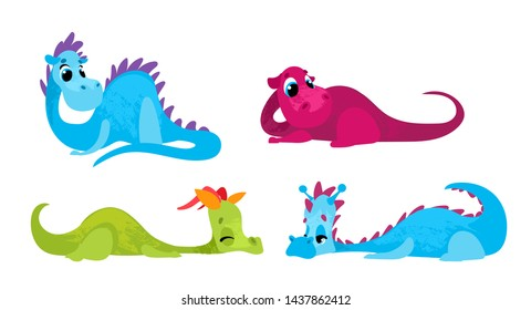Set cartoon dragons children's style.  Vector illustration in children's style, for children's books, posters, stickers or room decor