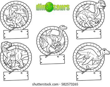 set of cartoon drawings of dinosaurs.