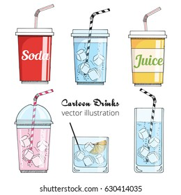 Set of cartoon drinks: cold beverages with ice- tea, lemonade, smoothie, juice, milk shake, soda. Vector illustration, isolated on white. Take away cup with tubule. Refreshing drinks icons for menu.