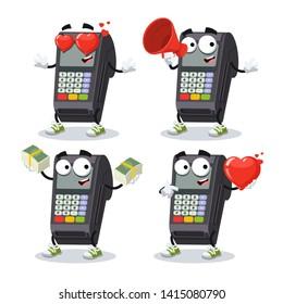 set of cartoon EDC card swipe machine character mascot on white background