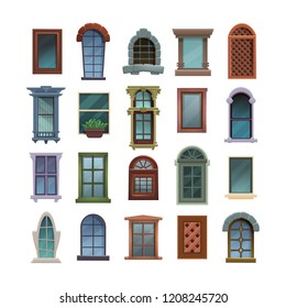 Set of cartoon elements of architecture - closed windows, front view. Vector illustration on white background.