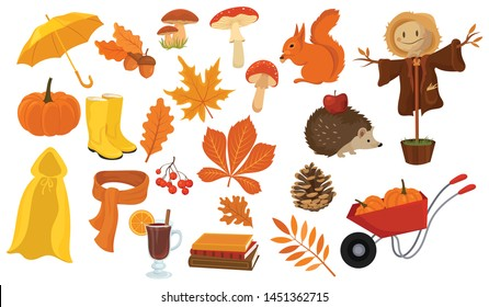 Set of cartoon elements of autumn. Collection of autumn attributes. Vector illustration for kids.