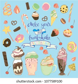 Set of cartoon elements Make your own freakshake milkshake. Fun hand drawn ingredients for a milkshake.  Vector Ice cream, candy, chocolate, waffles, muffins, donates, cookies