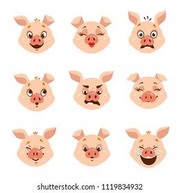 Set of cartoon emoji pig character icons. Vector illustration. Isolated on white background.