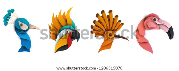 Set of cartoon exotic bird in trendy paper cut craft graphic style. Peacock, hoopoe, flamingo, parrot. Modern design for advertising, branding greeting card, cover, poster, banner. Vector illustration