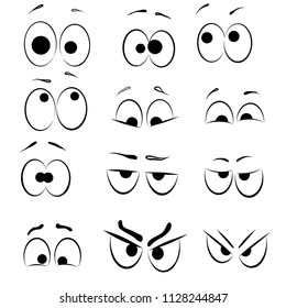 Set of Cartoon Eye faces. Different cartoon expression