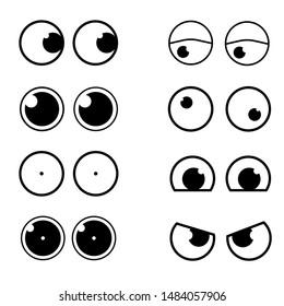 Set Cartoon Eye In Vector