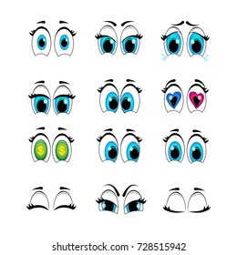 Set of cartoon eyes emotions to create characters.