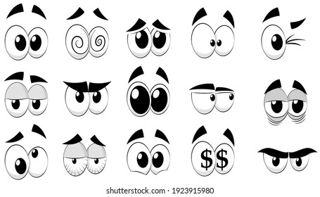 Set of cartoon eyes, isolated on white background. Comic eyes with different facial expressions. A variety of expressions with anger, sadness, surprise and happiness. Vector illustration