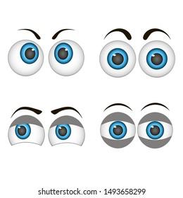 Set of cartoon eyes. Vector illustration