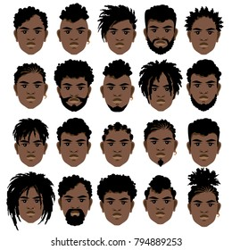 Set of cartoon faces of black men with different hairstyles, beard and mustache. Vector illustration.