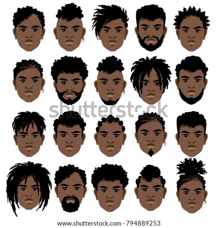 Set Cartoon Faces Black Men Different Stock Vector Royalty Free