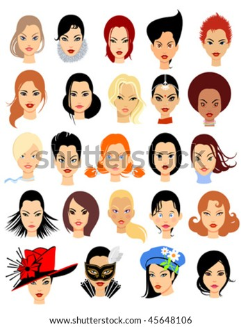 set cartoon faces girls part 1 stock vector royalty free 45648106