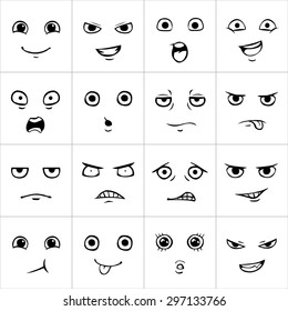 Set of cartoon faces with various emotions